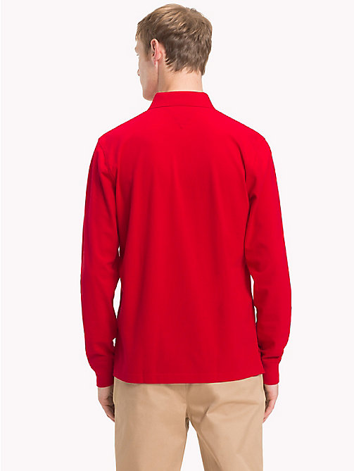 TOMMY HILFIGER Big & Tall Long Sleeve Polo Shirt - HAUTE RED - TOMMY HILFIGER Polo Shirts - detail image 1