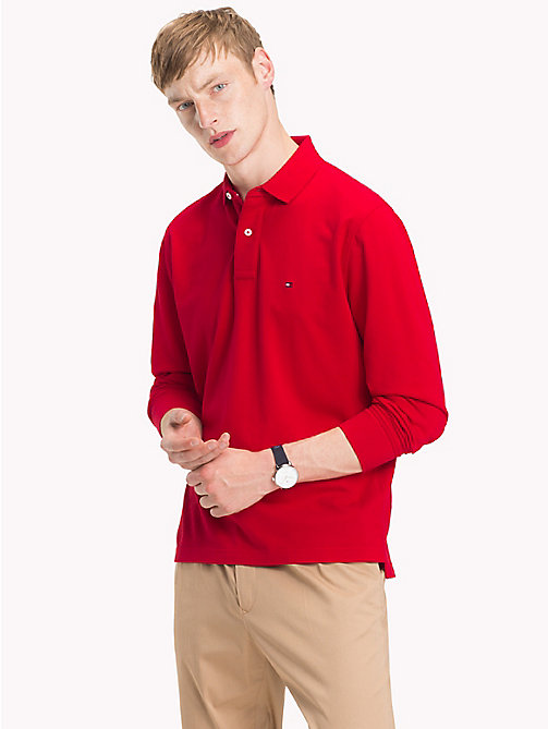 TOMMY HILFIGER Big & Tall Long Sleeve Polo Shirt - HAUTE RED - TOMMY HILFIGER Polo Shirts - main image