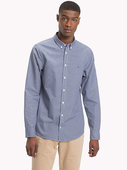 TOMMY HILFIGER Big & Tall Mini Houndstooth Print Shirt - MEDIEVAL BLUE / BRIGHT WHITE - TOMMY HILFIGER Casual Shirts - main image