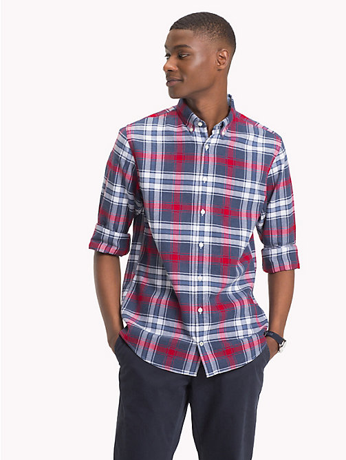 TOMMY HILFIGER Big & Tall Plaid Check Shirt - MEDIEVAL BLUE / HAUTE RED - TOMMY HILFIGER Casual Shirts - detail image 1