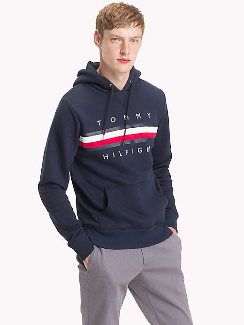 TOMMY HILFIGER Big & Tall Logo Fleece Hoody - NAVY BLAZER - TOMMY HILFIGER Hoodies - main image