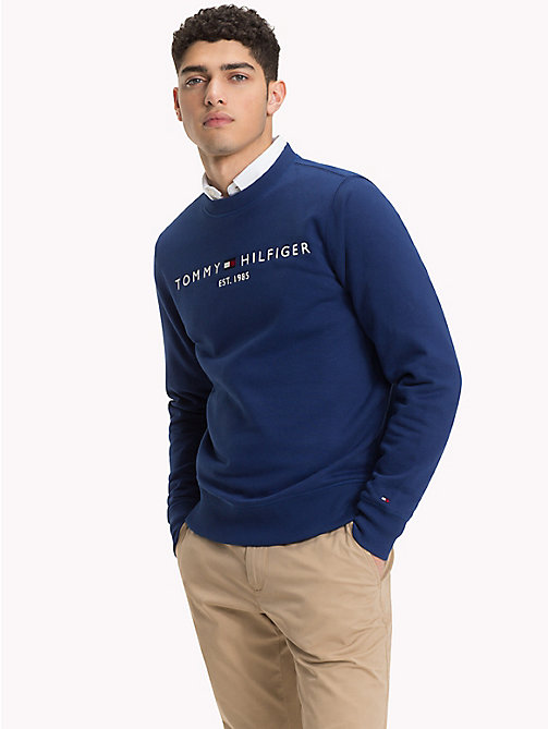 TOMMY HILFIGER Big & Tall Logo Fleece Sweatshirt - BLUE DEPTHS - TOMMY HILFIGER Sweatshirts - main image