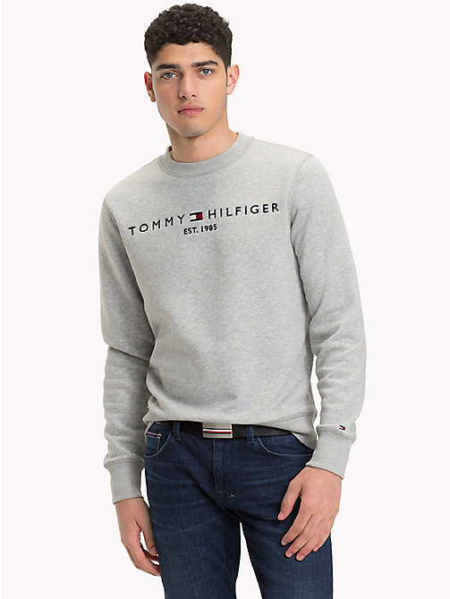 TOMMY HILFIGER Big & Tall fleece sweatshirt met logo - CLOUD HTR - TOMMY HILFIGER Grote Maten - main image