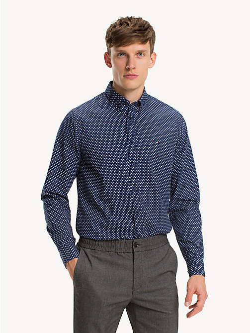 TOMMY HILFIGER Geometric Print Slim Fit Shirt - MEDIEVAL BLUE MULTI - TOMMY HILFIGER NEW IN - detail image 1