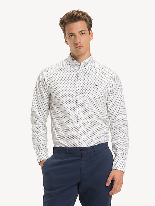 TOMMY HILFIGER Geometric Print Slim Fit Shirt - BRIGHT WHITE/MULTI - TOMMY HILFIGER NEW IN - detail image 1