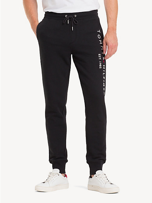 TOMMY HILFIGER Pure Cotton Logo Joggers - JET BLACK - TOMMY HILFIGER Sweatpants - main image