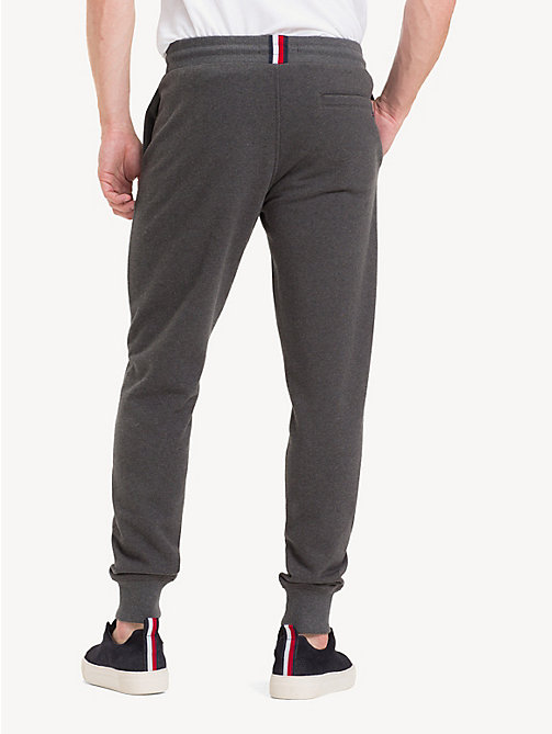 TOMMY HILFIGER Pure Cotton Logo Joggers - CHARCOAL HTR - TOMMY HILFIGER Sweatpants - detail image 1