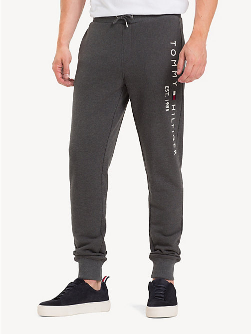 TOMMY HILFIGER Pure Cotton Logo Joggers - CHARCOAL HTR - TOMMY HILFIGER Sweatpants - main image
