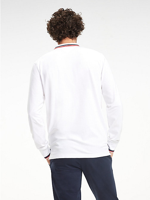 TOMMY HILFIGER Pure Cotton Long-Sleeve Polo Shirt - BRIGHT WHITE - TOMMY HILFIGER NEW IN - detail image 1