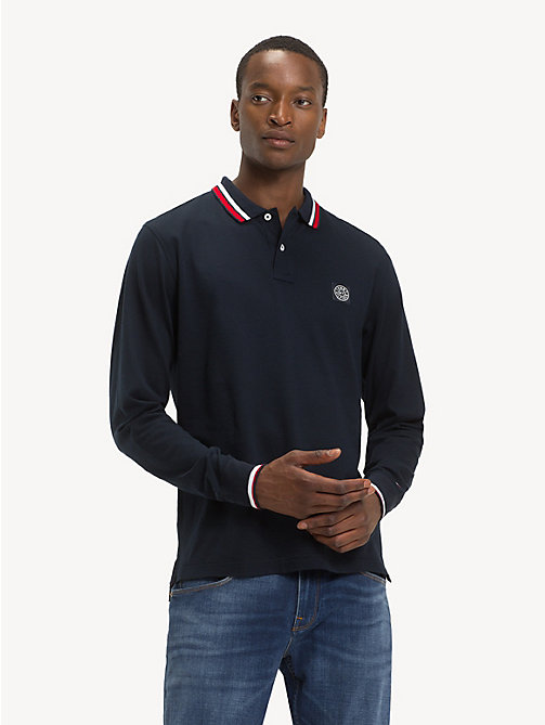 TOMMY HILFIGER Pure Cotton Long-Sleeve Polo Shirt - SKY CAPTAIN - TOMMY HILFIGER NEW IN - main image