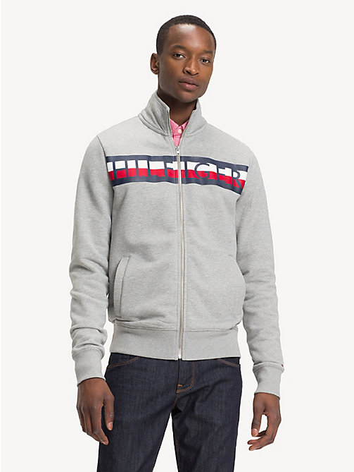 TOMMY HILFIGER Logo Zip-Thru Sweatshirt - CLOUD HTR - TOMMY HILFIGER Sweatshirts - main image
