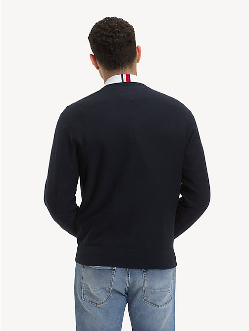 TOMMY HILFIGER Pure Cotton V-Neck Jumper - SKY CAPTAIN - TOMMY HILFIGER Jumpers - detail image 1