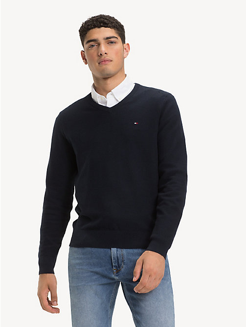 TOMMY HILFIGER Pure Cotton V-Neck Jumper - SKY CAPTAIN - TOMMY HILFIGER Jumpers - main image