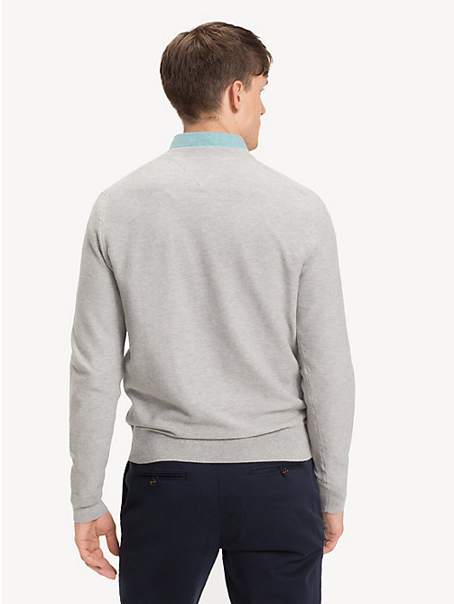 TOMMY HILFIGER Pure Cotton V-Neck Jumper - CLOUD HTR - TOMMY HILFIGER Jumpers - detail image 1