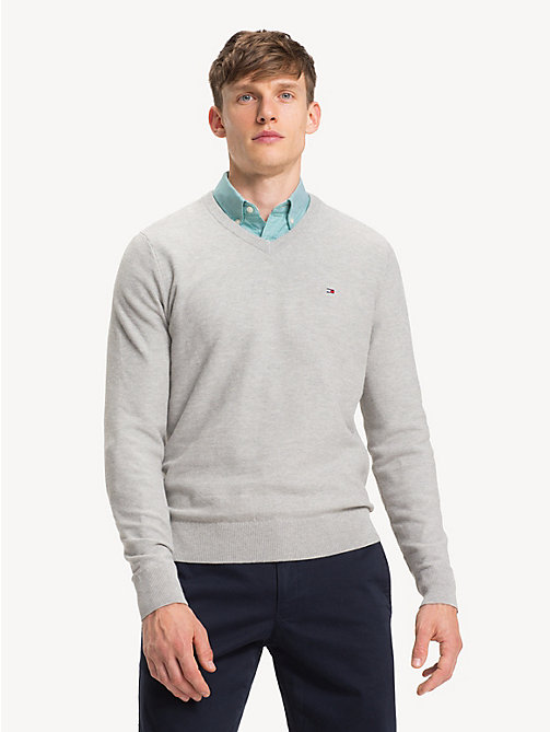 TOMMY HILFIGER Pure Cotton V-Neck Jumper - CLOUD HTR - TOMMY HILFIGER Jumpers - main image