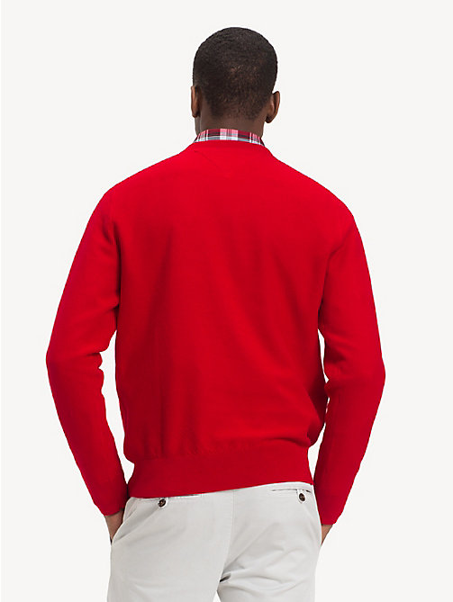 TOMMY HILFIGER Pure Cotton V-Neck Jumper - HAUTE RED - TOMMY HILFIGER NEW IN - detail image 1