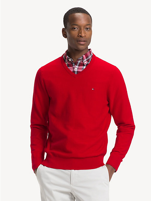 TOMMY HILFIGER Pure Cotton V-Neck Jumper - HAUTE RED - TOMMY HILFIGER NEW IN - main image