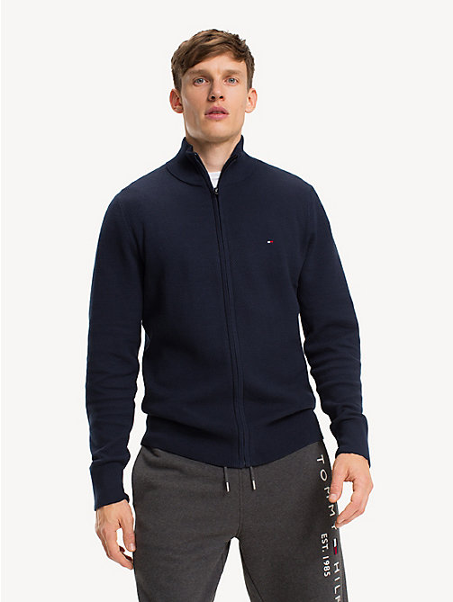 TOMMY HILFIGER Pure Cotton Zip-Thru Jumper - SKY CAPTAIN - TOMMY HILFIGER NEW IN - main image