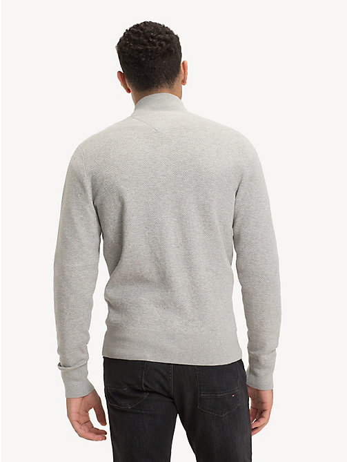 TOMMY HILFIGER Pure Cotton Zip-Thru Jumper - CLOUD HTR - TOMMY HILFIGER NEW IN - detail image 1
