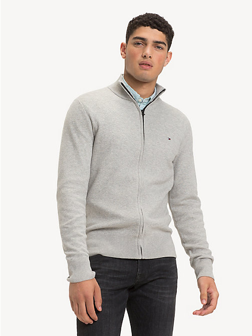 TOMMY HILFIGER Pure Cotton Zip-Thru Jumper - CLOUD HTR - TOMMY HILFIGER Cardigans - main image