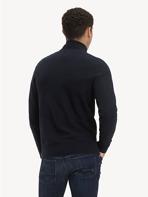 TOMMY HILFIGER Pure Cotton Mock Neck Jumper - SKY CAPTAIN - TOMMY HILFIGER Winter Warmers - detail image 1