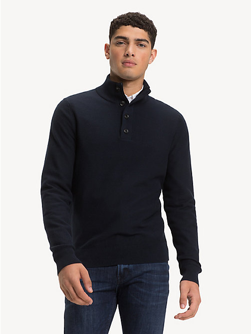 TOMMY HILFIGER Pure Cotton Mock Neck Jumper - SKY CAPTAIN - TOMMY HILFIGER NEW IN - main image