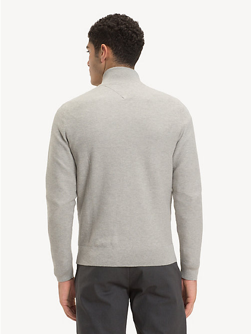 TOMMY HILFIGER Pure Cotton Mock Neck Jumper - CLOUD HTR - TOMMY HILFIGER Jumpers - detail image 1