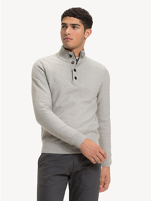 TOMMY HILFIGER Pure Cotton Mock Neck Jumper - CLOUD HTR - TOMMY HILFIGER Jumpers - main image