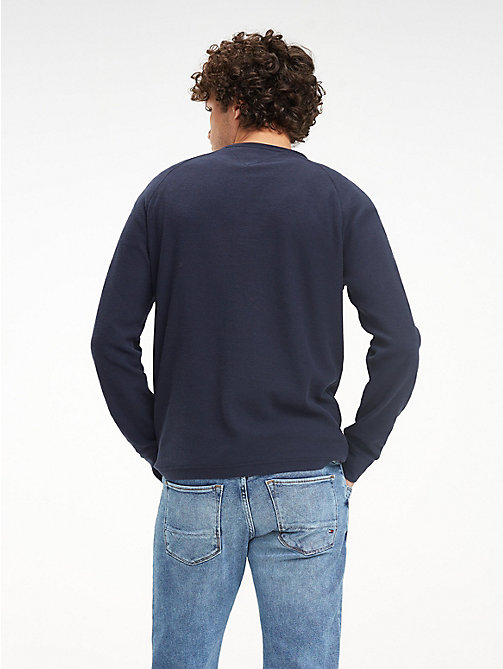 TOMMY HILFIGER Waffle Texture Long-Sleeve T-Shirt - SKY CAPTAIN - TOMMY HILFIGER NEW IN - detail image 1