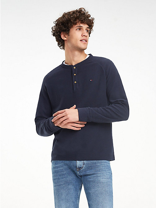 TOMMY HILFIGER Waffle Texture Long-Sleeve T-Shirt - SKY CAPTAIN - TOMMY HILFIGER NEW IN - main image