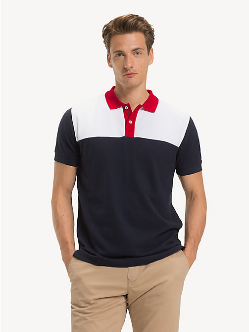 TOMMY HILFIGER Katoenen poloshirt met colour-blocking - SKY CAPTAIN - TOMMY HILFIGER NIEUW - main image