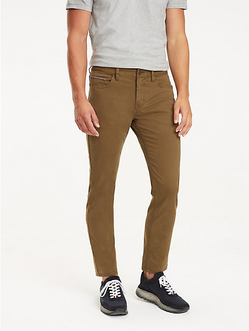 TOMMY HILFIGER STRAIGHT DENTON 5PKT GMD FLEX - DARK OLIVE - TOMMY HILFIGER Trousers - main image
