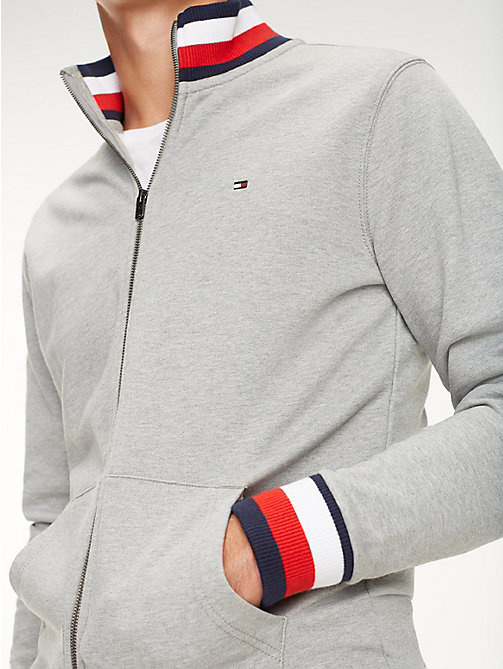 TOMMY HILFIGER Signature Tape Zip-Thru Sweatshirt - CLOUD HTR - TOMMY HILFIGER Sweatshirts - main image
