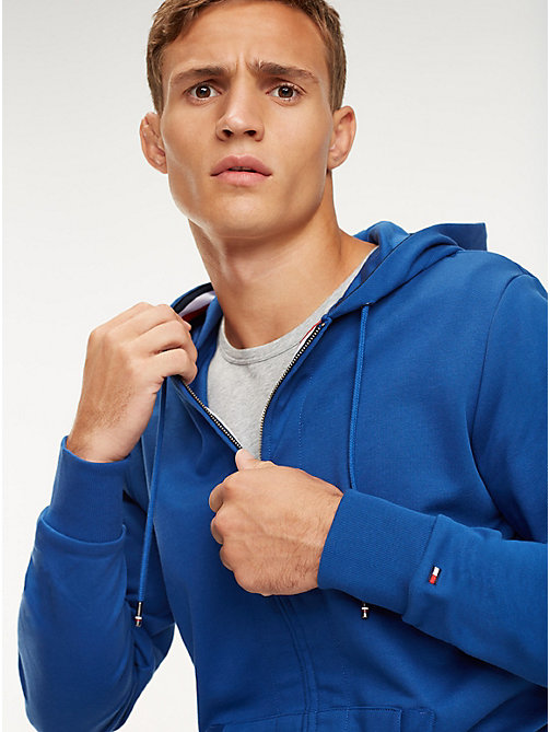 TOMMY HILFIGER Signature Tape Zip-Thru Hoody - BLUE QUARTZ - TOMMY HILFIGER Hoodies - main image