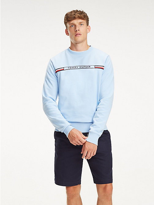 TOMMY HILFIGER Signature Tape Logo Sweatshirt - CHAMBRAY BLUE - TOMMY HILFIGER Sweatshirts - main image