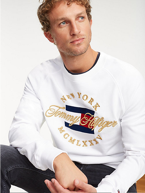 TOMMY HILFIGER Sweatshirt mit Metallic-Logo - BRIGHT WHITE - TOMMY HILFIGER NEW IN - main image