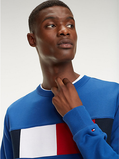 TOMMY HILFIGER Colour-Blocked Flag Sweatshirt - BLUE QUARTZ - TOMMY HILFIGER Sweatshirts - main image