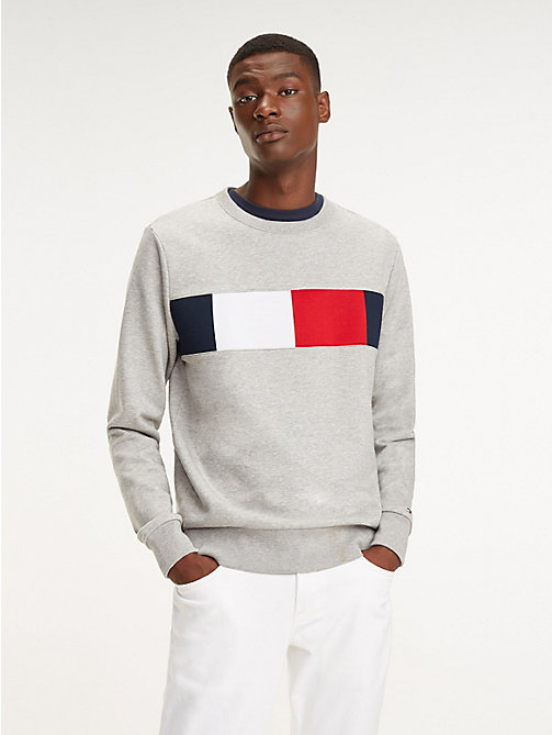 TOMMY HILFIGER Colour-Blocked Flag Sweatshirt - CLOUD HTR - TOMMY HILFIGER Sweatshirts - main image
