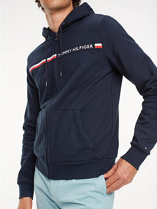 TOMMY HILFIGER Signature Tape Zip-Thru Hoody - SKY CAPTAIN - TOMMY HILFIGER Hoodies - main image