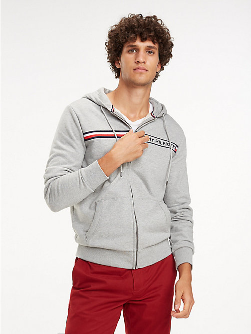 TOMMY HILFIGER Signature Tape Zip-Thru Hoody - CLOUD HTR - TOMMY HILFIGER Hoodies - main image