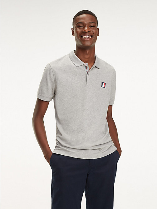 TOMMY HILFIGER Monogram Badge Polo - CLOUD HTR - TOMMY HILFIGER Polo Shirts - main image