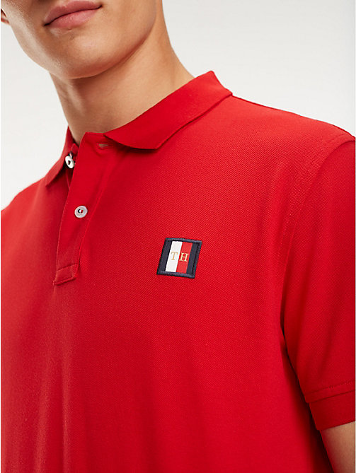 TOMMY HILFIGER Poloshirt mit Monogramm-Patch - HAUTE RED - TOMMY HILFIGER NEW IN - main image