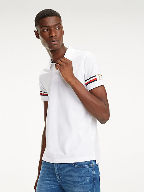 TOMMY HILFIGER Slim Fit Poloshirt mit Tommy-Streifen - BRIGHT WHITE - TOMMY HILFIGER NEW IN - main image