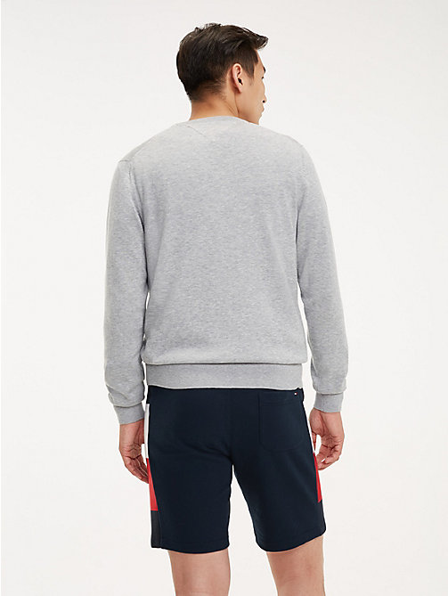 TOMMY HILFIGER Cotton-Silk Crew Neck Jumper - SLEET HEATHER - TOMMY HILFIGER Jumpers - detail image 1
