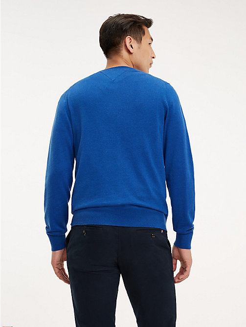 TOMMY HILFIGER Cotton-Silk Crew Neck Jumper - BLUE QUARTZ HEATHER - TOMMY HILFIGER Jumpers - detail image 1