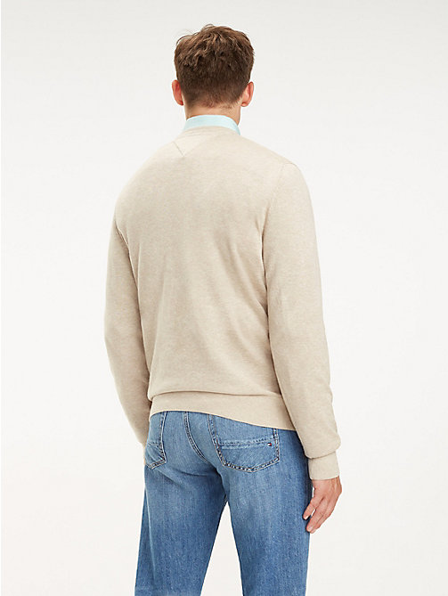 TOMMY HILFIGER Cotton-Silk Crew Neck Jumper - OYSTER GREY HTR - TOMMY HILFIGER Jumpers - detail image 1