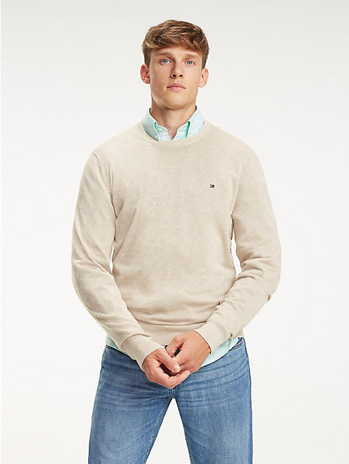 TOMMY HILFIGER Cotton-Silk Crew Neck Jumper - OYSTER GREY HTR - TOMMY HILFIGER Jumpers - main image