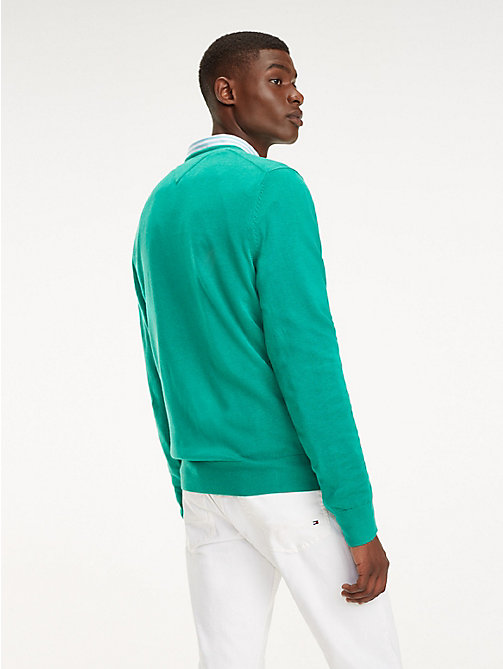 TOMMY HILFIGER Cotton-Silk Crew Neck Jumper - PEPPER GREEN HEATHER - TOMMY HILFIGER Jumpers - detail image 1