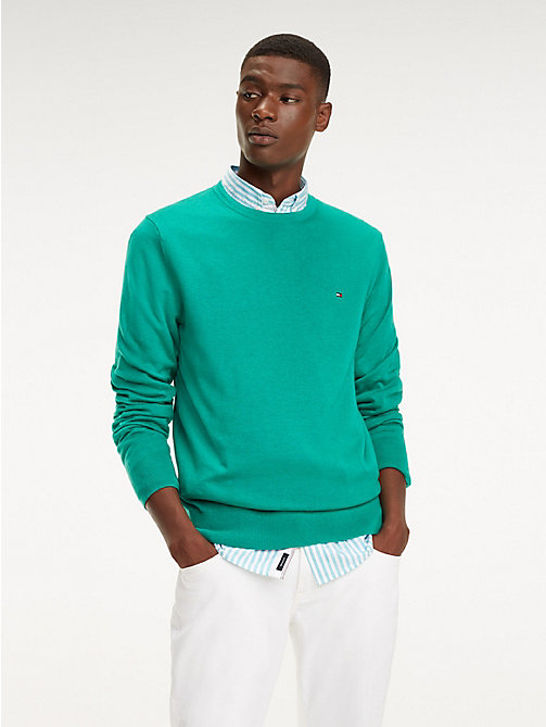 TOMMY HILFIGER Cotton-Silk Crew Neck Jumper - PEPPER GREEN HEATHER - TOMMY HILFIGER Jumpers - main image