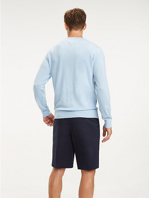 TOMMY HILFIGER Cotton-Silk Crew Neck Jumper - CHAMBRAY BLUE HTR - TOMMY HILFIGER Jumpers - detail image 1